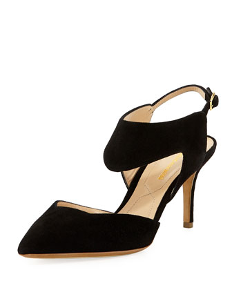 Suede Two-Piece Pump, Black