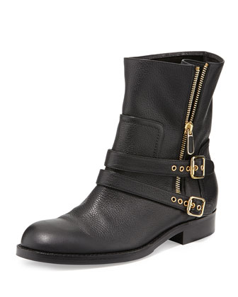 Sabrina Double-Buckle Ankle Boot, Black
