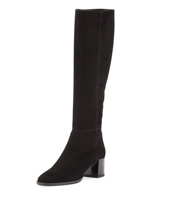 Suede Mid-Heel Knee Boot, Black