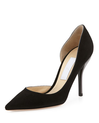 Willis Suede Half d'Orsay Pump, Black