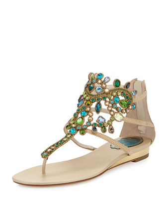 Strass Crystal Embellished Lizard Sandal