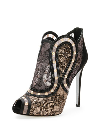 Peep-Toe Pearly Lace Bootie, Black/Gold