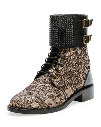 Lace Crystal-Cuff Combat Boot, Black