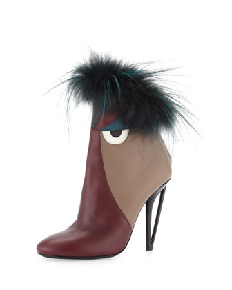 Leather High-Heel Monster Bootie