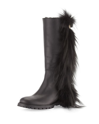 Tall Fur-Fringe Leather Boot, Black