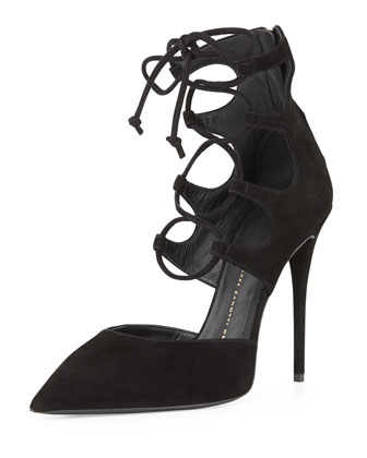 Suede Point-Toe Lace-Up Pump, Nero