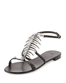 Fish Bone Flat Sandal, Nero