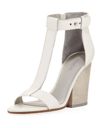 Nolan Split-Wedge Leather Sandal, Vanilla