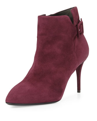 Side-Buckle Suede Ankle Boot, Ametista