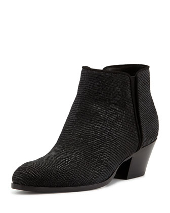 Lizard-print Suede Ankle Boot, Nero