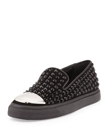 Crystal-Studded Cap-Toe Skate Shoe