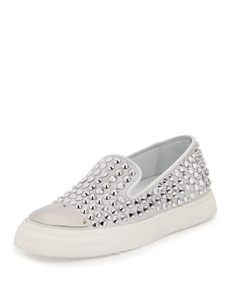 Studded Cap-Toe Skate Shoe, Bianco