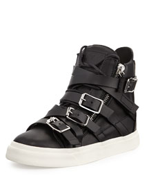 Multi-Buckle High-Top Sneaker, Nero