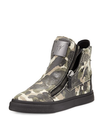 Double-Zip Camo Leather Sneaker