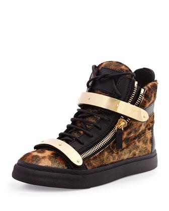 Calf Hair High-Top Sneaker, Leopard