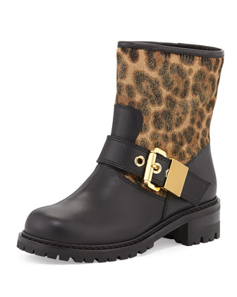 Leopard-Print Motorcycle Boot, Nero