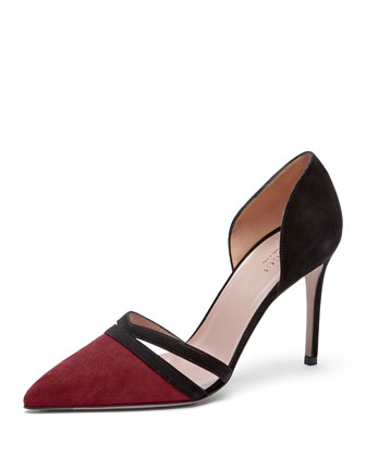 Suede d'Orsay Point-Toe Pump, Burgundy/Nero
