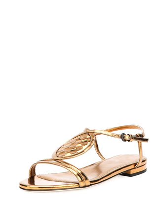 Woven Metallic Leather Sandal, Bronze