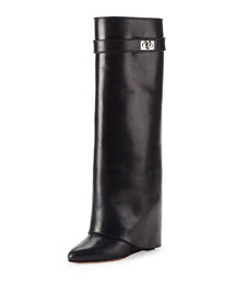 Shark Lock Fold-Over Leather Boot, Black