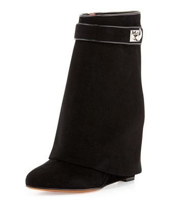 Suede Shark-Lock Fold-Over Ankle Boot, Black