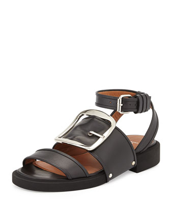 Buckle-Strap Leather Sandal, Black