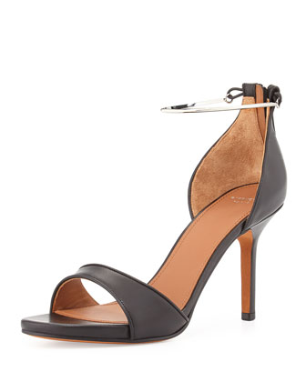 Leather Metal-Cuff Sandal