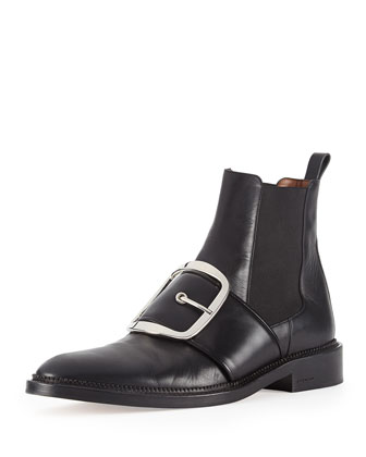 Buckle-Strap Leather Ankle Boot, Black