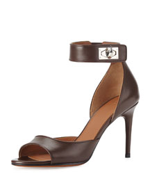 Leather Shark-Lock Naked Sandal, Black