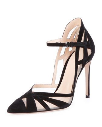 Suede & Mesh Ankle-Strap Pump, Black