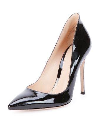 Patent Leather Point-Toe Pump, Black