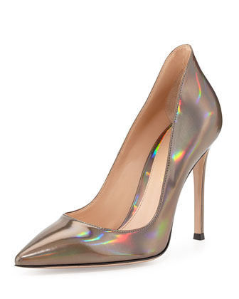 Mirror Leather Point-Toe Pump, Silver