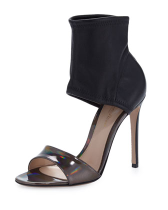 Glove-Ankle Sandal with Iridescent Leather, Black/Silver