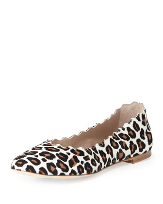 Scalloped Leopard-Print Calf Hair Ballerina Flat