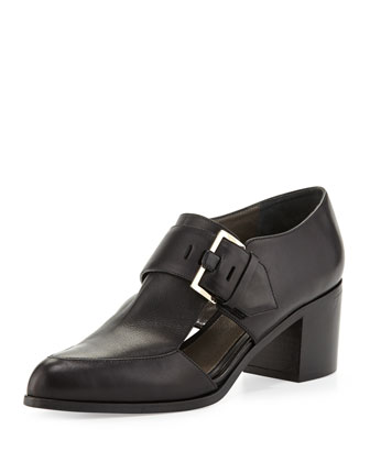 Cutout Leather Buckle Loafer, Black