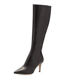 Pointy Low-Heel Knee Boot, Black