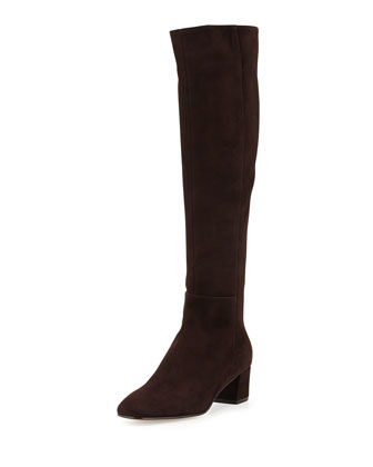 Low-Heel Suede Knee Boot, Dark Brown