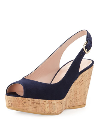 Jean Suede Cork Wedge, Nice Blue