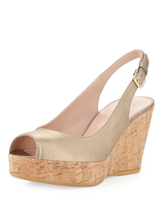 Jean Metallic Leather Cork Wedge, Ale (Made to Order)