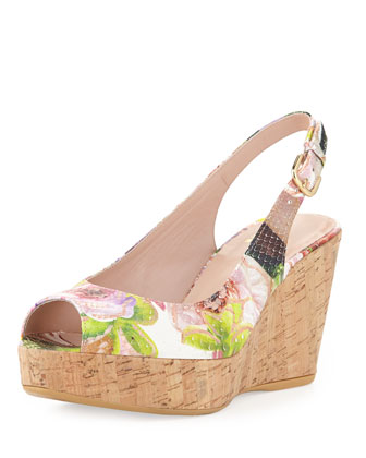Jean Floral Python Cork Wedge, Rose (Made to Order)