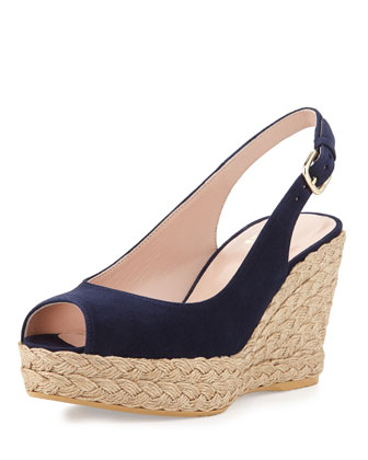 Jean Suede Jute Wedge, Nice Blue
