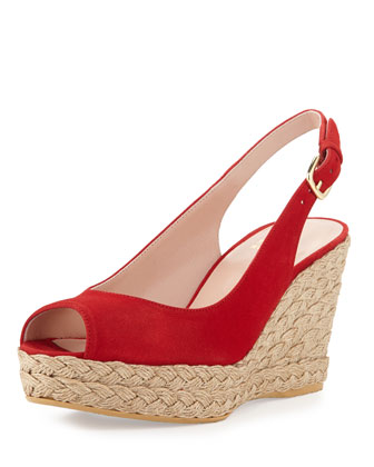 Jean Suede Jute Wedge, Red (Made to Order)