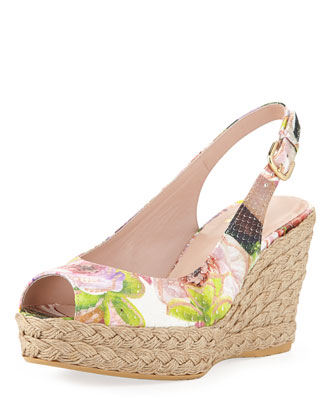 Jean Floral Python Jute Wedge (Made to Order)