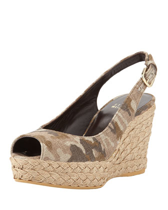 Jean Linen Jute Wedge, Tan Camo