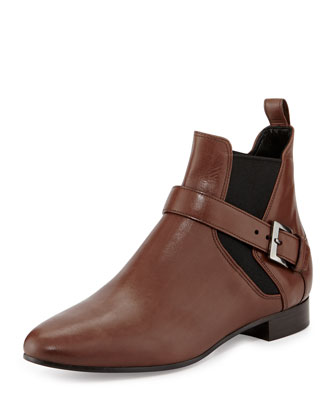 Side-Buckle Flat Ankle Boot