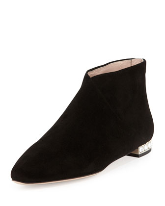 Suede Crystal-Heel Ankle Boot, Black