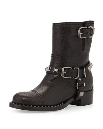 Short Studded Motorcycle Boot