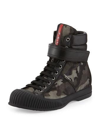 Camo-Print Nylon Grip-Strap Sneaker