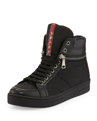 Nylon Zip-Side Sneaker, Nero