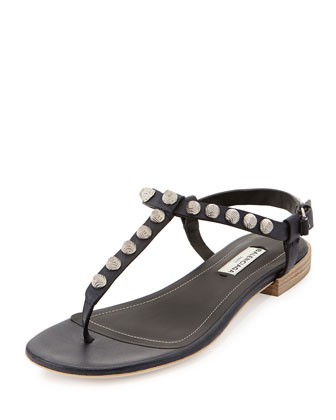 Giant Nickel Studded Thong Sandal, Blue