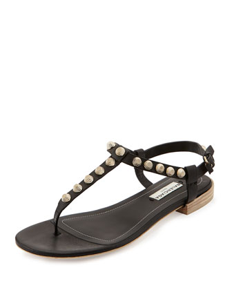 Giant Gold Studded Thong Sandal, Black